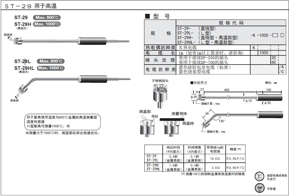 ST-29/ST-29H/ST-29L/ST-29HL高溫1000度表面熱電偶探頭
