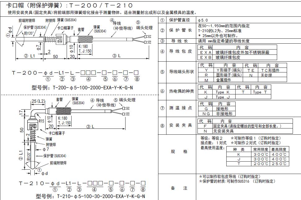 T-200/T-210卡口式熱電偶 日本RKC理化工業卡簧熱電偶