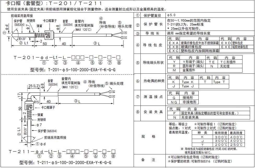 T-200/T-210卡簧式熱電偶 日本RKC理化工業