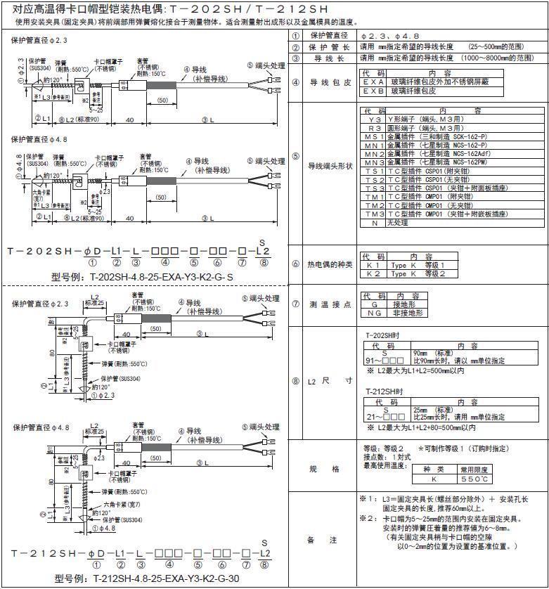 T-202SH/T-212SH高溫鎧裝卡簧式熱電偶 日本RKC理化工業