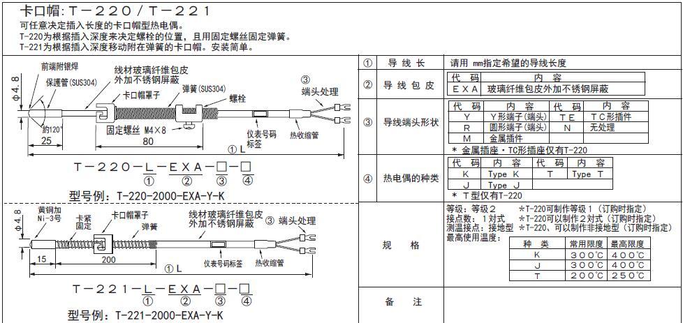 T-220/T-211卡簧式熱電偶 日本RKC理化工業