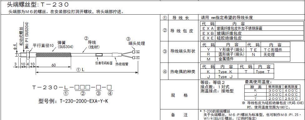 T-230螺釘熱電偶 日本RKC理化工業