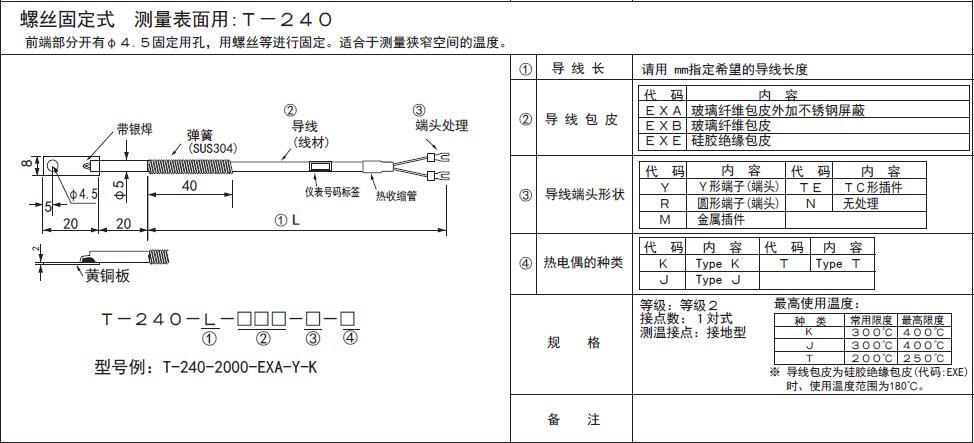 T-240銅片熱電偶探頭 日本RKC理化工業