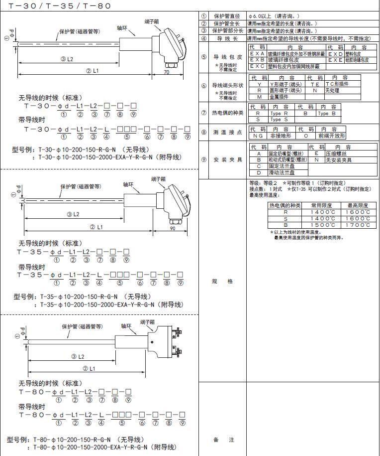 T-30/T-35/T-80鉑銠熱電偶 日本RKC理化工業