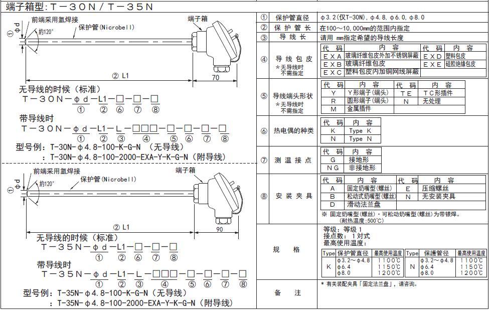 T-30N/T-35N接線盒式高溫鎧裝熱電偶測溫探頭 日本RKC理化工業