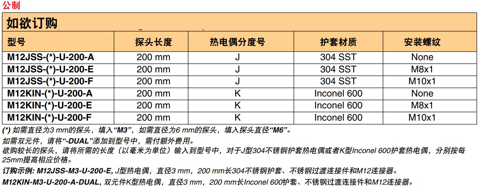 美国OMEGA J型/K型热电偶传感器